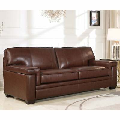 Excellent Abbyson Reagan Brown Top Grain Leather Sofa Dark Brown Gmtry Best Dining Table And Chair Ideas Images Gmtryco
