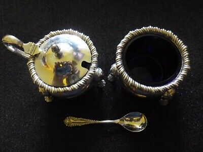 Mappin and Webb Silver Salt and Mustard with Unassociated Spoon