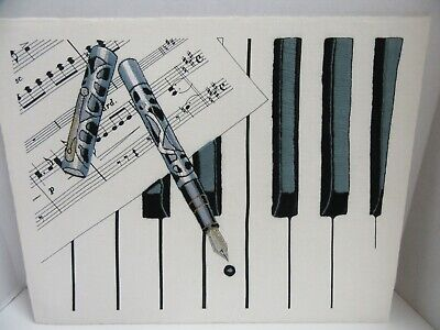 Finished Crewel Embroidery Inspiration on Ivory Ink Pen Piano Keys Completed