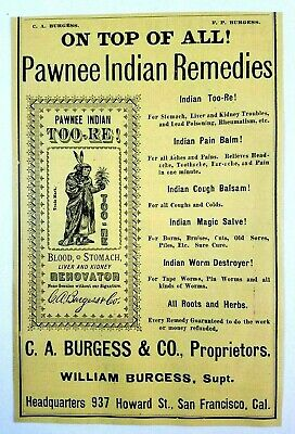 1891 California Burgess Pawnee Indian Remedies Med Quack Print Ad Advertisement