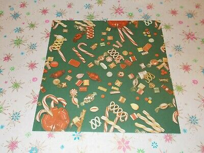 Vtg Christmas Wrapping Paper Gift Wrap 1950 Candy Cane Hard Candy