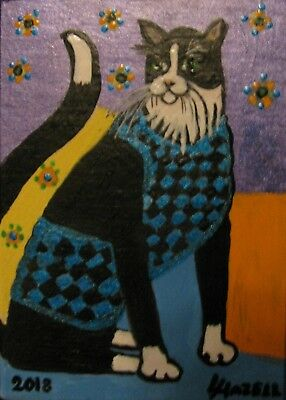 "A602 Original Acrylic Aceo Painting By Ljh  ""Wanda""  Folk Art Cat"