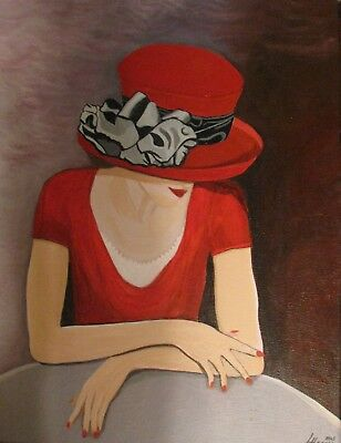 "C114  Original Acrylic Painting By Ljh  ""Lady In Red''"