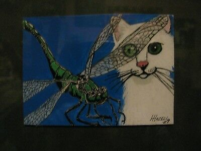 """A9   Original Acrylic Aceo Painting By Ljh  """"White Cat W/Dragonfly"""""""
