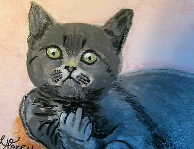 """A326    Original Acrylic Art Aceo Painting By Ljh        """"The Finger""""       Cat"""