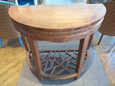 ANTIQUE fine carved CHINESE HARDWOOD console demi line table DECORATIVE BASE
