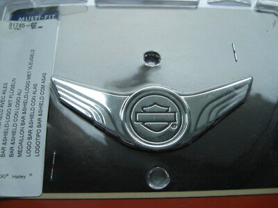 Harley Davidson Bar & Shield B&S Wings Emblem Chrom Medallion Sissybar 91745-02