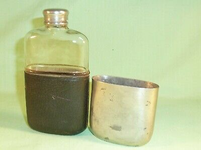 Antique Glass Hip Flask , Leather Trim and Pewter Cup & Lid