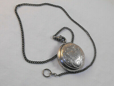 Sterling Silver Mirrored Puff Compact Pill Snuff Box Floral Chatelaine Chain Fob