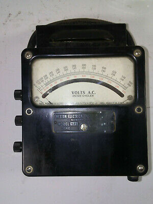 Rare! Weston Electrical Instruments Corp., Model 433 Voltmeter & Original Case
