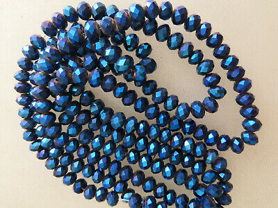 70pcs 9x12mm Plated Blue AB Crystal Faceted Gems Loose Beads