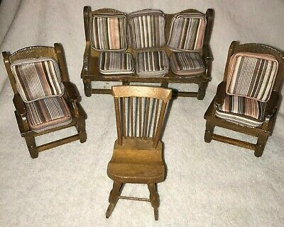 Vintage Wood Dollhouse Living Room Furniture Couch and 3 Chairs with Cushions