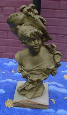 Antique Auguste Moreau Bronze Sculpture-French Bust Victorian Lady-Aug-Marble