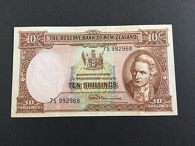 NEW ZEALAND . (1955- 1956) 10 SHILLINGS - Fleming gVF/EF, nice looking banknote