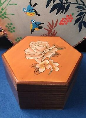 Vintage Hexagonal Lacquered Wooden Hand Painted Floral Trinket Jewellery Box