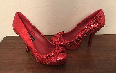 02370cac335 RED SEQUIN RUBY Slippers Wizard of Oz Dorothy Costume Shoes Heels ...
