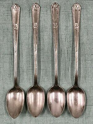 "ANTQ ART DECO SET of 4 ICED TEA SPOONS SILVER PLATED ""REX"" by REGAL c.1904"