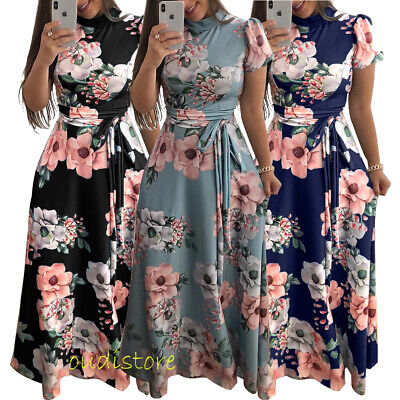 Fashion Boho Floral Long Maxi Dress Women Evening Party Cocktail Holiday Dresses