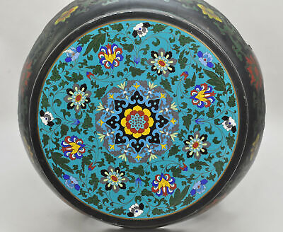 Antique Chinese Export Enameled Canton Cloisonne Wooden Stool
