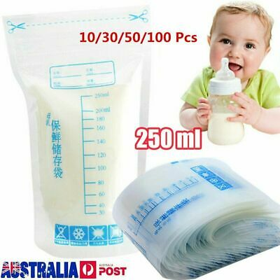 1~100pcs Pre-Sterilised Breastmilk Baby Breast Milk Storage Bags Pouches 250ML M