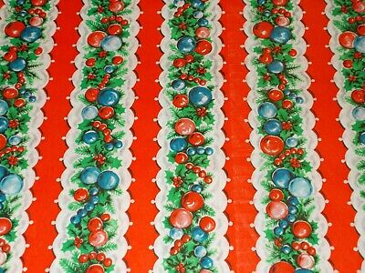 Vtg Christmas Wrapping Paper Gift Wrap 1950 Ornaments Garland Stripes