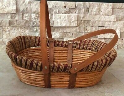 Vintage Bamboo Wicker Basket w/ 2 handles  - Used Good Condition