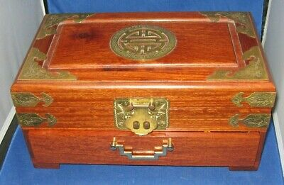 Antique Rosewood Jewelry Chest Box - Beautiful with Brass Accoutrements