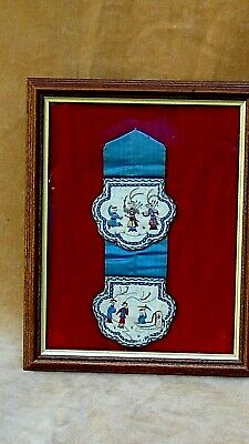 ANTIQUE 19c CHINESE 2 MEDALLION FORBIDDEN STICH SILK EMBROIDERY OF WOMAN&WARRIOR