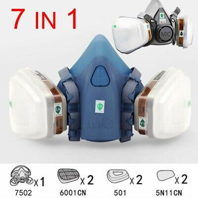 3M 7502/6200 7 pcs Half Face Respirator Painting Spraying Face Dust Gas Mask fn