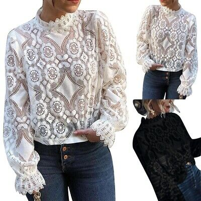 Womens Sexy Perspective Long Sleeve Stand Collar Lace Shirt Lady Thin Blouse Tee