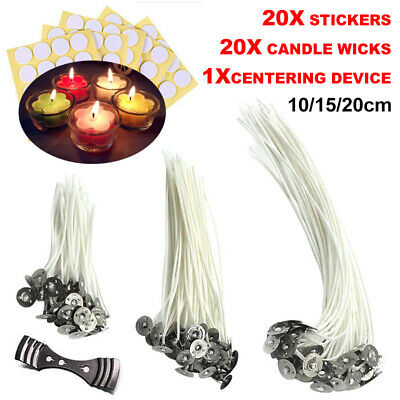 20* Candle Wick 10/12/15/20cm 20* Stickers 1* Centering Device Low Smoke Natural