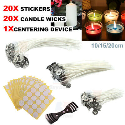 20 Candle Wick 20 Stickers Centering Device 10/12/15/20cm Low Smoke Natural