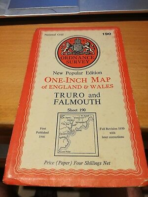 Ordnance Survey One Inch Map of England & Wales 1946 Truro & Falmouth 190
