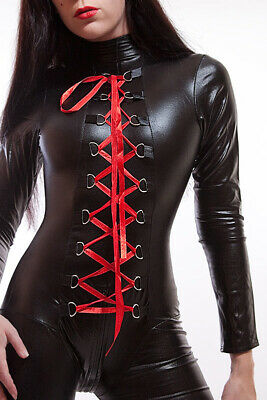 Lycra Catsuit / Overall in Lack/Latex look mit Schnürung/ Lycra Catsuit Lace-up