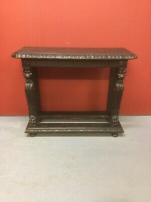 Antique Carved Oak Console Hall Table Sn-p