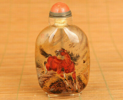 rare chinese glass inside hand painting horse art statue figure snuff bottle