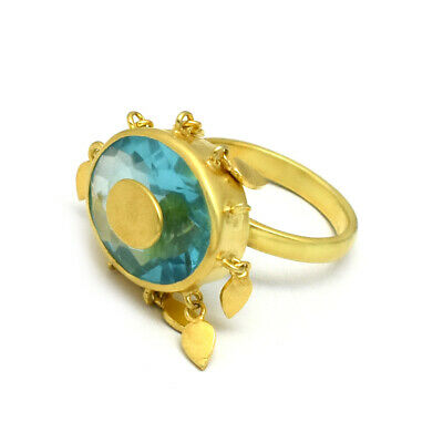 925 Sterling Silver Multi Gemstone Designer Gold Plated Antique Ring Jewelry