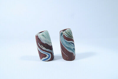 2 alte Glasperlen AY52 Old African Beads reheated Chevrons 7 Layer Ghana Afrozip
