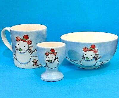 Christmas Mouse Breakfast Set Mug Bowl & Egg Cup Whittard Jane Massey 2004