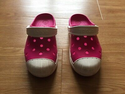 Used Pink Girls Crocs, Size J2 Eur 33-34, Excellent Condition as hardly worn.