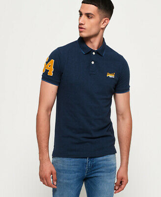New Mens Superdry Classic Pique Polo Shirt Abyss Navy Feeder