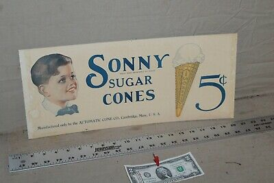 RARE 1920s SONNY SUGAR ICE CREAM CONES TROLLY SIGN BOY 5 CENT GAS OIL FOUNTAIN