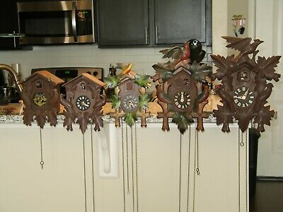 Vintage Lot Of 5 Black Forest & German Cuckoo Clocks And Parts