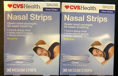 Cvs Nasal Strips Breathe Right 30 clear Medium X 2! 2 PACK Normal Size
