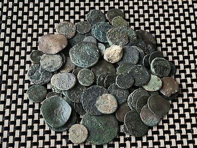 Lot Of 100 Ancient Roman And Byzantine Medieval Bronze Coins