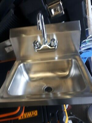 Hand Wash Basin Stainless Steel Sink Commercial Compact with tap & waste,bracket