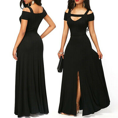 Women Pretty Long Cold Shoulder Evening Prom Gown V-neck Formal Party Dress H