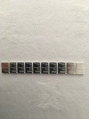 10 x 1g of 999 Pure Silver Bars (10grams)
