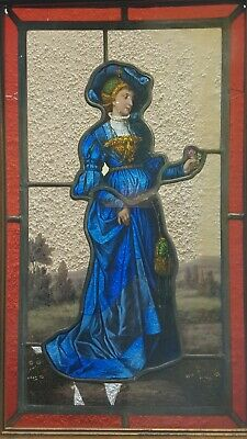 Beautiful antique Stained Glass image of a Medieval/tudor Woman.  Finely painted