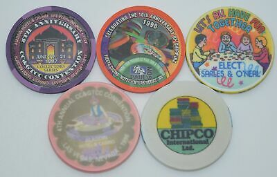 Set of 5 Mix Advertisement Chips and Aladdin CC&GTCC Convention Paul-son/ChipCo.